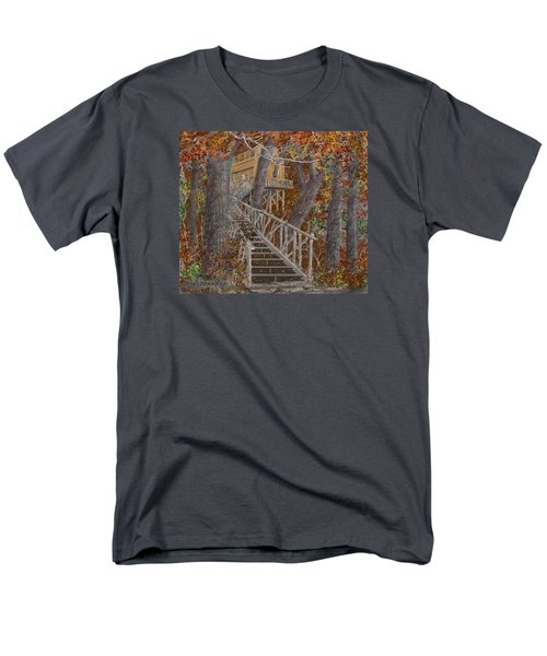 Men's T-Shirt  (Regular Fit) featuring the drawing Tree House #1  by Jim Hubbard