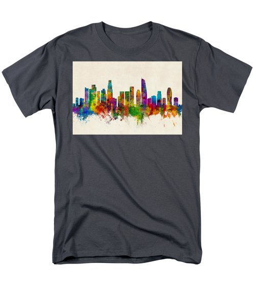 Los Angeles California Skyline Men's T-Shirt  (Regular Fit) by Michael Tompsett
