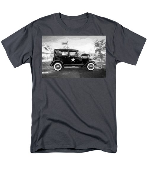 Men's T-Shirt  (Regular Fit) featuring the photograph 1929 Ford Model A Tudor Police Sedan Bw by Rich Franco