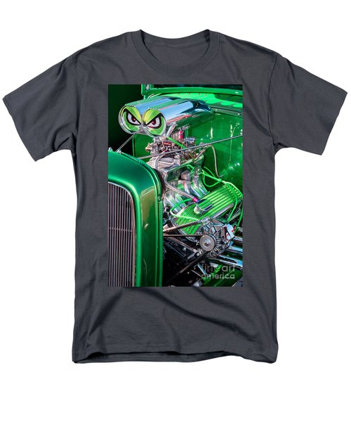 Men's T-Shirt  (Regular Fit) featuring the photograph 1932 Green Ford Hot Rod Engine by Aloha Art