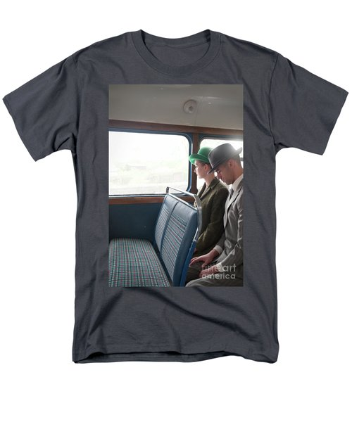 1940s Couple Sitting On A Vintage Bus Men's T-Shirt  (Regular Fit) by Lee Avison