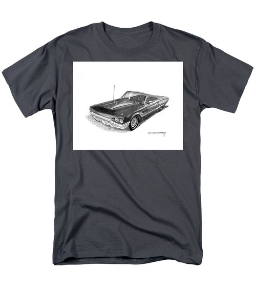 Men's T-Shirt  (Regular Fit) featuring the drawing 1965 Thunderbird Convertible By Ford by Jack Pumphrey