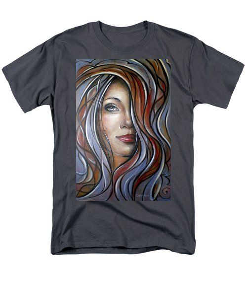 Men's T-Shirt  (Regular Fit) featuring the painting Cool Blue Smile 070709 by Selena Boron