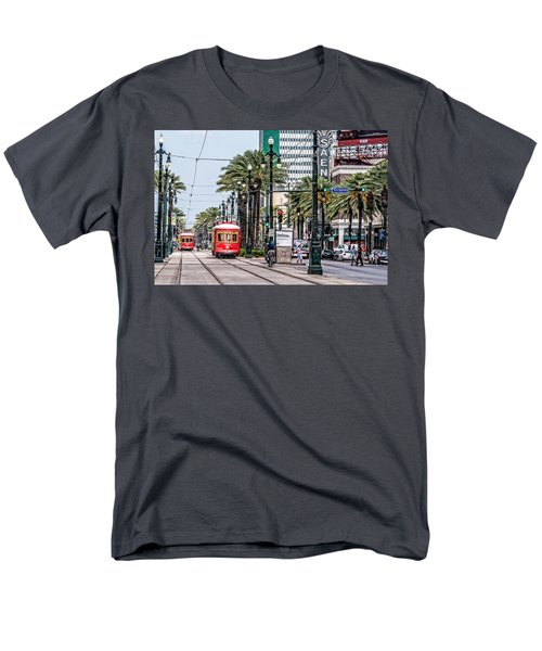 Men's T-Shirt  (Regular Fit) featuring the photograph New Orleans Canal Street Streetcars by Andy Crawford