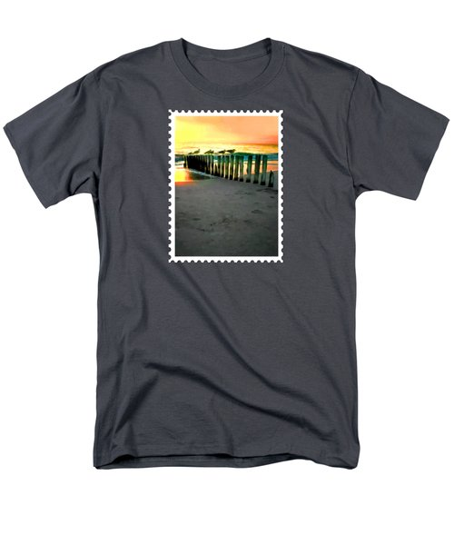 Sea Gulls On Pilings  At Sunset Men's T-Shirt  (Regular Fit) by Elaine Plesser