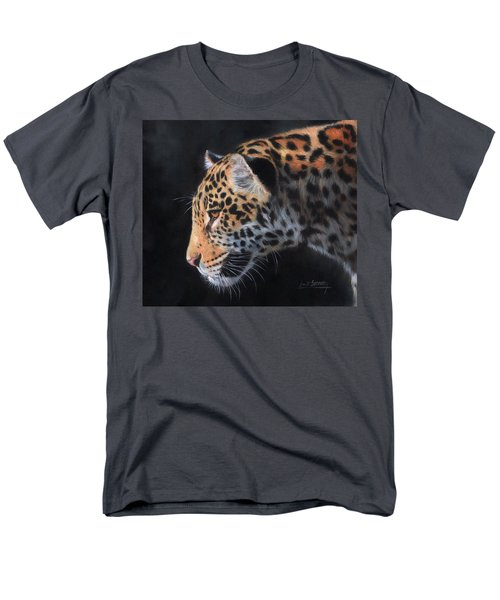 Men's T-Shirt  (Regular Fit) featuring the painting South American Jaguar by David Stribbling