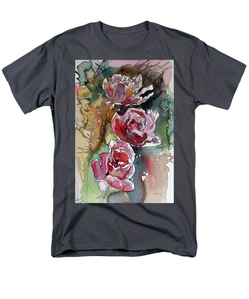 Men's T-Shirt  (Regular Fit) featuring the painting Roses by Kovacs Anna Brigitta