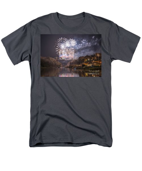 Men's T-Shirt  (Regular Fit) featuring the photograph Clifton Suspension Bridge Fireworks by Colin Rayner
