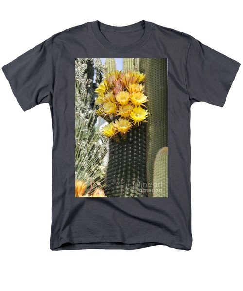 Yellow Cactus Flowers Men's T-Shirt  (Regular Fit) by Jim And Emily Bush