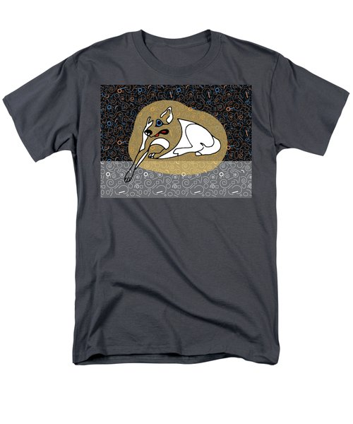 A Big White Dog In A Vegas Casino Men's T-Shirt  (Regular Fit) by Stan  Magnan