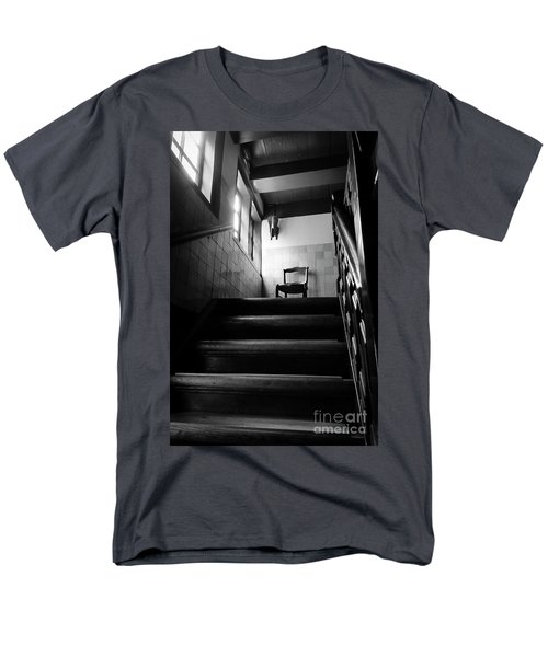 A Chair At The Top Of The Stairway Bw Men's T-Shirt  (Regular Fit) by RicardMN Photography
