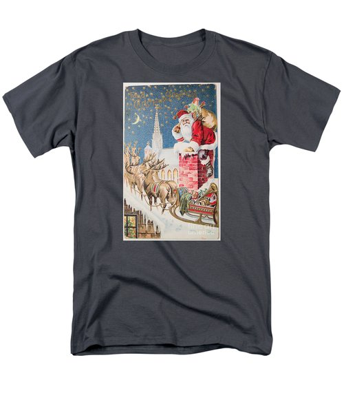 A Merry Christmas Vintage Greetings From Santa Claus And His Raindeer Men's T-Shirt  (Regular Fit) by R Muirhead Art