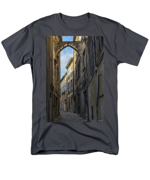 Men's T-Shirt  (Regular Fit) featuring the photograph A Narrow Street In Viviers by Allen Sheffield