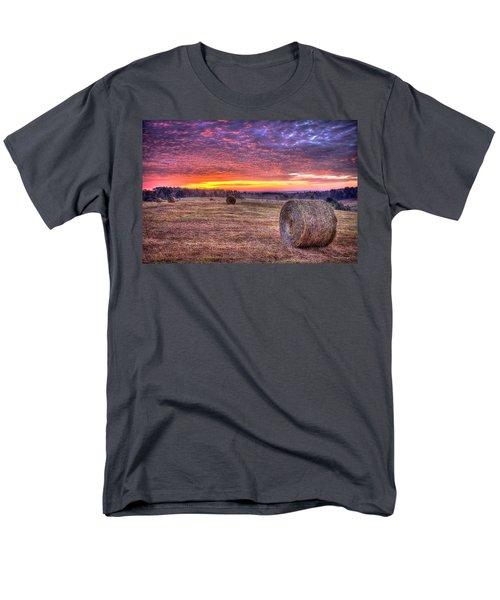Men's T-Shirt  (Regular Fit) featuring the photograph Before A New Day Georgia Hayfield Sunrise Art by Reid Callaway