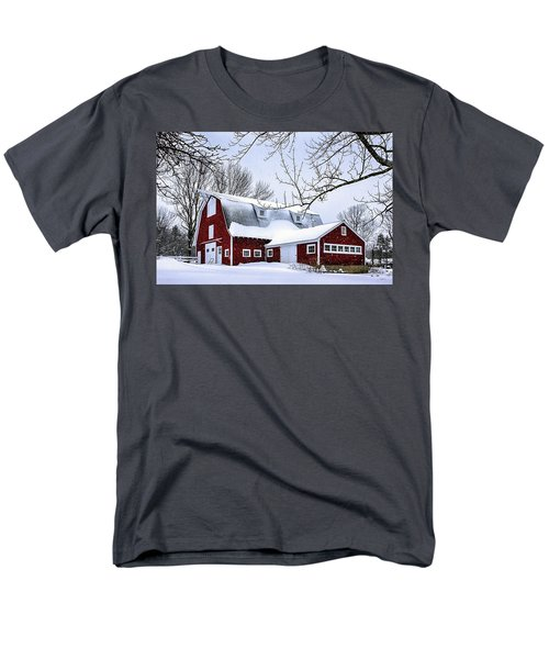 A Snowy Day At Grey Ledge Farm Men's T-Shirt  (Regular Fit) by Betty Denise