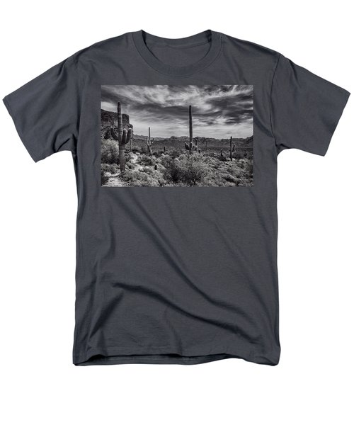 Men's T-Shirt  (Regular Fit) featuring the photograph A Morning Hike In The Superstition In Black And White  by Saija Lehtonen