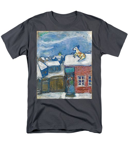 A Village In Winter Men's T-Shirt  (Regular Fit) by Marc Chagall