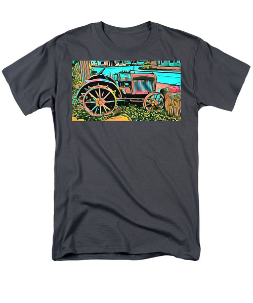 Men's T-Shirt  (Regular Fit) featuring the digital art Abstract Tractor Los Olivos California by Floyd Snyder