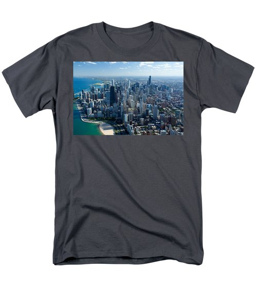 Aerial View Of A City, Lake Michigan Men's T-Shirt  (Regular Fit) by Panoramic Images