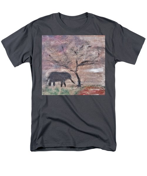 Men's T-Shirt  (Regular Fit) featuring the painting African Landscape Baby Elephant And Banya Tree At Watering Hole With Mountain And Sunset Grasses Shr by MendyZ