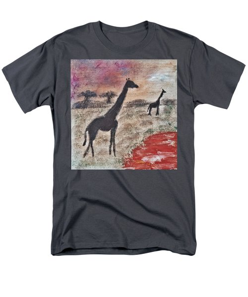 Men's T-Shirt  (Regular Fit) featuring the painting African Landscape Giraffe And Banya Tree At Watering Hole With Mountain And Sunset Grasses Shrubs Sa by MendyZ