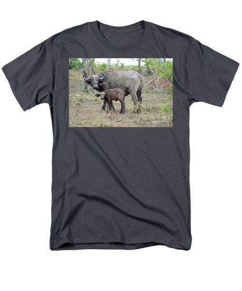 African Safari Mother And Baby Buffalo Men's T-Shirt  (Regular Fit) by Eva Kaufman