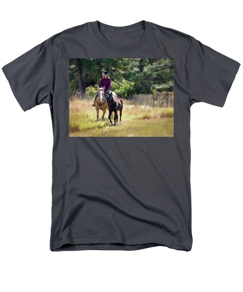 Afternoon Ride In The Sun - Cowgirl Riding Palomino Horse With Foal Men's T-Shirt  (Regular Fit) by Nadja Rider