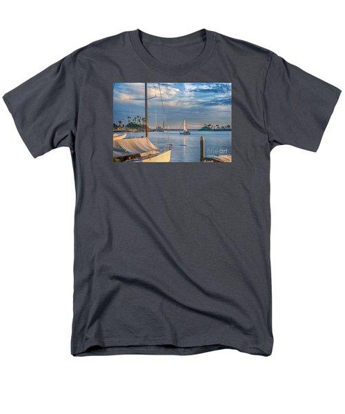 Alamitos Bay Inlet Sailboat Men's T-Shirt  (Regular Fit) by David Zanzinger