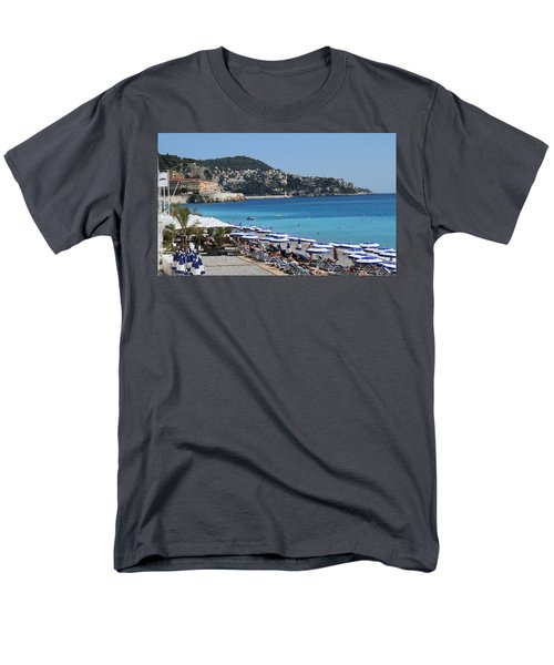 Men's T-Shirt  (Regular Fit) featuring the painting Along The Beach In Nice Looking Over Toward Monaco by Rod Jellison