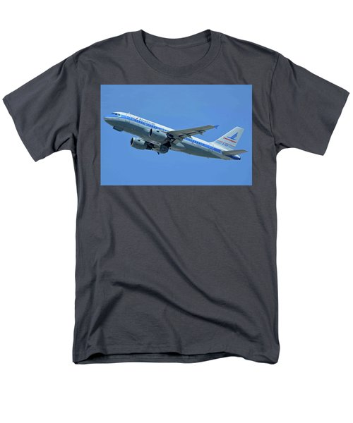 Men's T-Shirt  (Regular Fit) featuring the photograph American Airbus A319-0112 N744p Piedmont Pacemaker Los Angeles International Airport May 3 20 by Brian Lockett