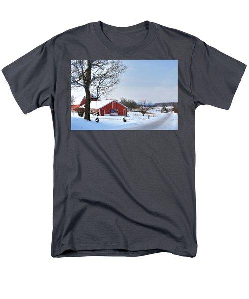 Men's T-Shirt  (Regular Fit) featuring the digital art Americana Barn In Vermont by Sharon Batdorf