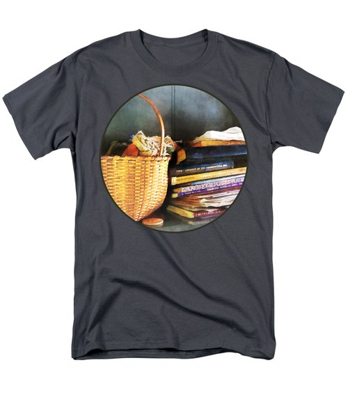 Americana - Books Basket And Quills Men's T-Shirt  (Regular Fit) by Susan Savad