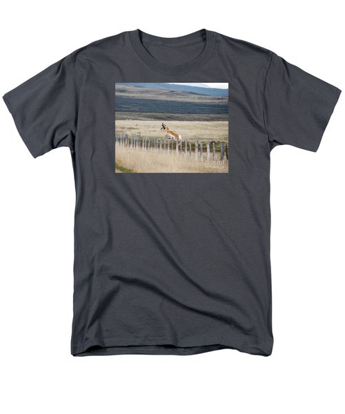 Men's T-Shirt  (Regular Fit) featuring the photograph Antelope Jumping Fence 1 by Rebecca Margraf