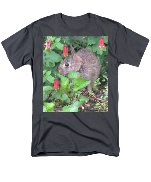 Men's T-Shirt  (Regular Fit) featuring the photograph April Rabbit And Columbine by Peg Toliver