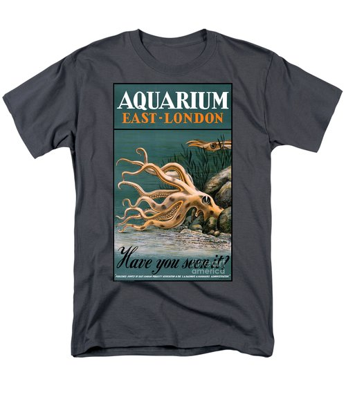Aquarium Octopus Vintage Poster Restored Men's T-Shirt  (Regular Fit) by Carsten Reisinger