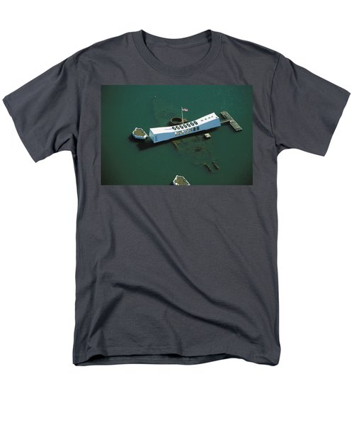 Arizona Memorial Aerial Men's T-Shirt  (Regular Fit) by Dana Edmunds - Printscapes