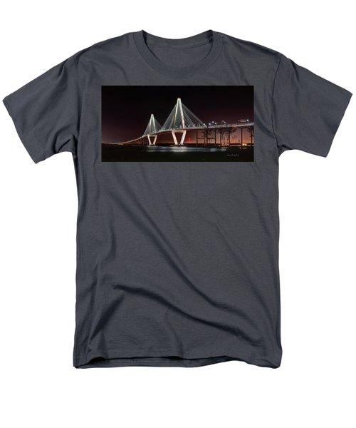 Men's T-Shirt  (Regular Fit) featuring the photograph Arthur Ravenel Jr. Bridge At Midnight by George Randy Bass