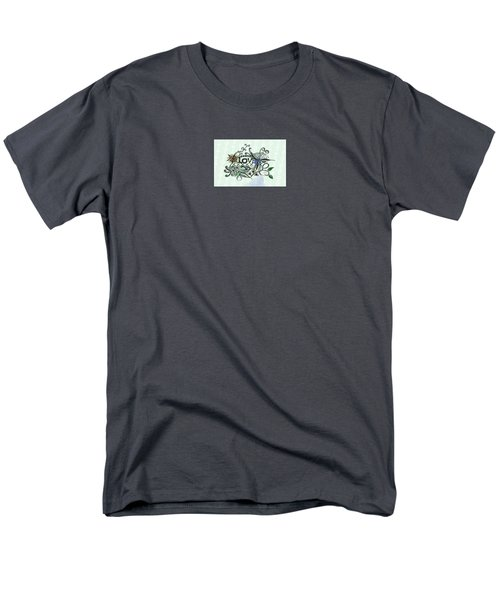Men's T-Shirt  (Regular Fit) featuring the drawing Pen And Ink Drawing Illustration Love  by Saribelle Rodriguez