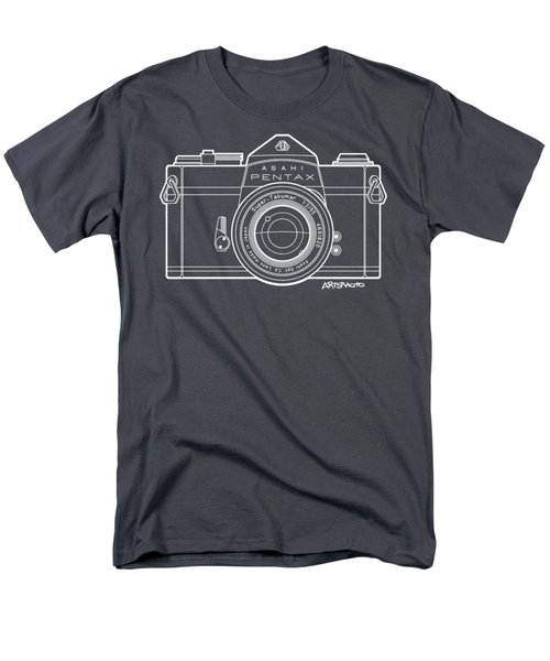 Asahi Pentax 35mm Analog Slr Camera Line Art Graphic White Outline Men's T-Shirt  (Regular Fit) by Monkey Crisis On Mars