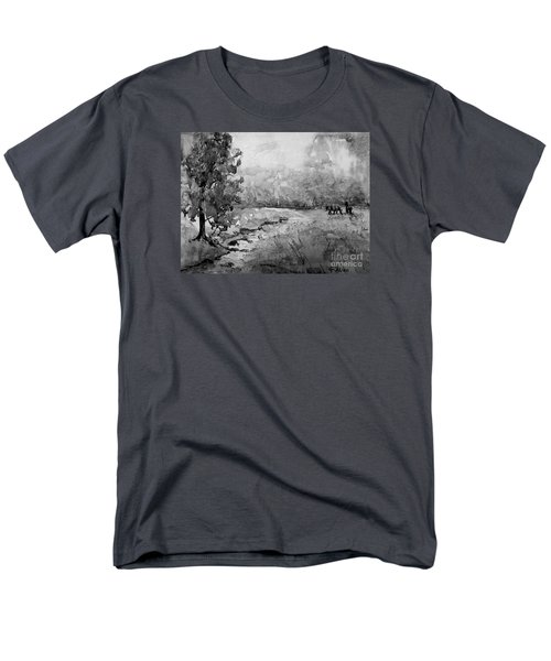Men's T-Shirt  (Regular Fit) featuring the painting Aska Farm Horses In Bw by Gretchen Allen