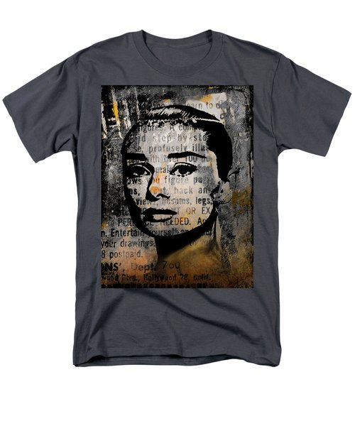 Men's T-Shirt  (Regular Fit) featuring the mixed media Audrey Hepburn #2 by Kim Gauge