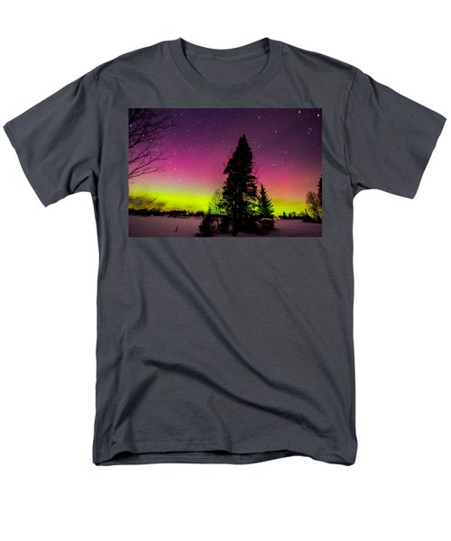 Aurora With Spruce Tree Men's T-Shirt  (Regular Fit) by Tim Kirchoff
