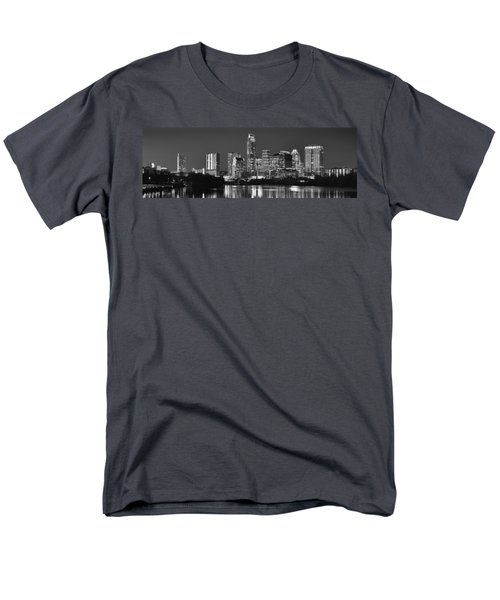 Austin Skyline At Night Black And White Bw Panorama Texas Men's T-Shirt  (Regular Fit) by Jon Holiday