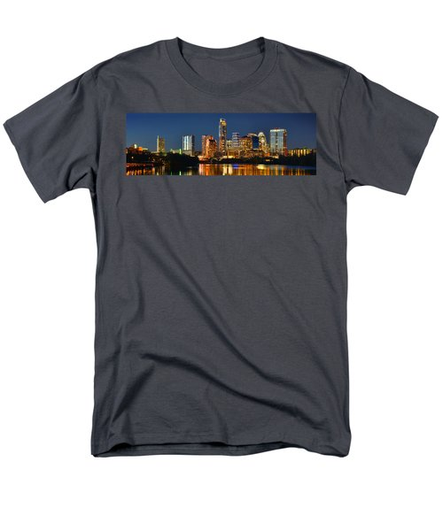Austin Skyline At Night Color Panorama Texas Men's T-Shirt  (Regular Fit) by Jon Holiday