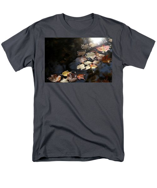 Men's T-Shirt  (Regular Fit) featuring the photograph Autumn With Leaves On Water by Emanuel Tanjala