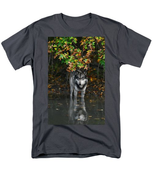 Men's T-Shirt  (Regular Fit) featuring the photograph Autumn Wolf by Shari Jardina