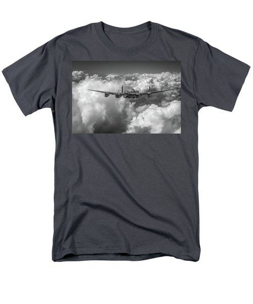 Men's T-Shirt  (Regular Fit) featuring the photograph Avro Lancaster Above Clouds Bw Version by Gary Eason