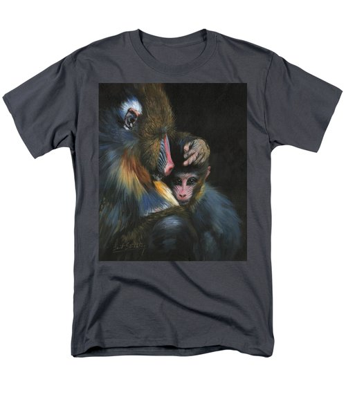 Men's T-Shirt  (Regular Fit) featuring the painting Baboon Mother And Baby by David Stribbling