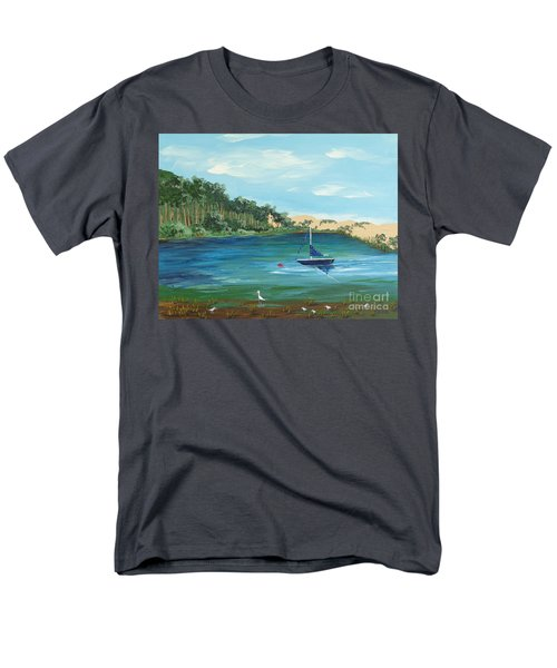 Men's T-Shirt  (Regular Fit) featuring the painting Back Bay From Back Bay Inn Los Osos Ca by Katherine Young-Beck