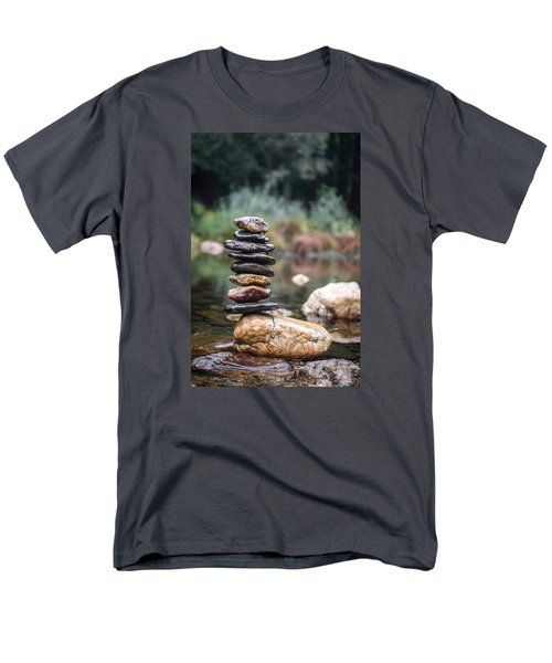 Balancing Zen Stones In Countryside River I Men's T-Shirt  (Regular Fit) by Marco Oliveira